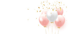 Background With Festive Realistic Balloons With Ribbon. Color Pink And White, Studded With Gold Sparkles And Glitter Confetti.Vector Illustration