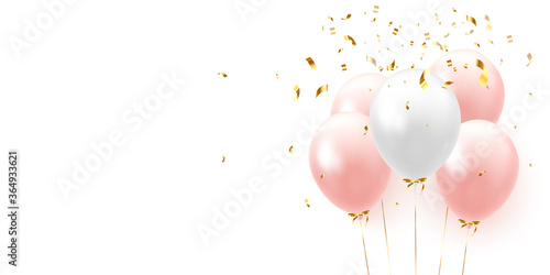 Fotografie, Obraz Background with festive realistic balloons with ribbon
