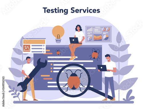 Fototapeta Testing software concept. Application or website code test process. obraz