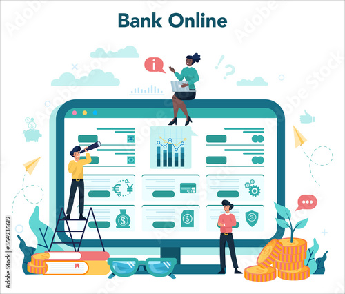 Fototapeta Online banking concept. Making financial operations such as payment obraz