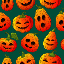 Halloween Pumpkins Pattern. Jack O Lantern Colorful Background. Hand Drawn Color Cartoon Style Pumpkins On Dark Blue Backdrop. Many Types Jack Pumpkin Face. Halloween Decoration Texture.