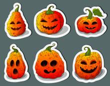 Halloween Pumpkins Sticker Set...