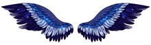 Beautiful Magic Gradient Glittery Glowing Blue Vector Wings