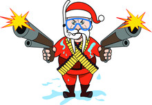 Walrus Man Santa Clause Outfit Beard And Tusks Wearing A Mask And Snorkel Coming Out Of The Water Shooting A Gun With 100 Round Magazine