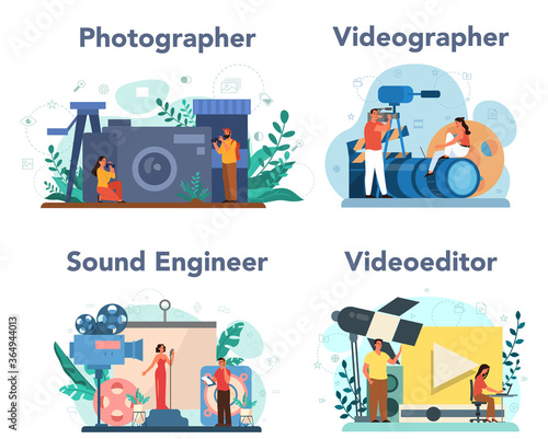 Fotografía Video production, photography and sound engineering concept set.