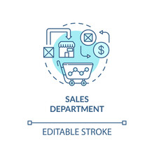 Sales Department Turquoise Concept Icon. Commerce Research. Merchandise Sell. Product Management Idea Thin Line Illustration. Vector Isolated Outline RGB Color Drawing. Editable Stroke