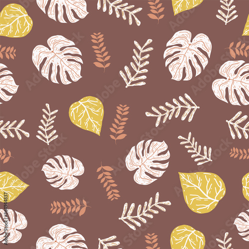 Fototapeta Vector chocolate and yellow color any leaf Repeat Seamless Pattern Background. Can Be Used For, bottles print, Fabric, Wallpaper, Invitations, Packaging. The surface pattern design. obraz na płótnie
