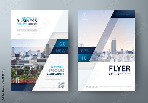 Cuadros en Lienzo Flyer design, Leaflet cover presentation, book cover template vector, layout in A4 size