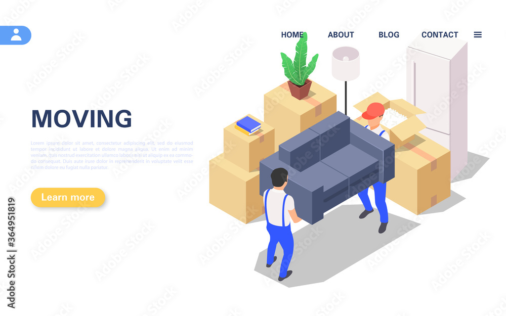 Fototapeta Home moving concept. A set of packed boxes with various household items and two movers carrying a sofa.