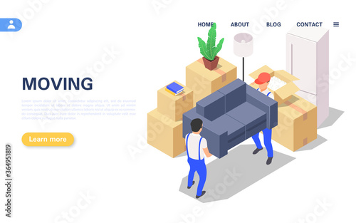Home moving concept. A set of packed boxes with various household items and two movers carrying a sofa.