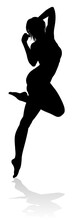 A Dancing Woman In Silhouette ...
