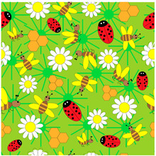 Seamless Pattern With Ladybug, Bees And Daisies