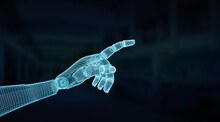 Wireframed Blue Robot Hand Poi...