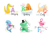 English Language Alphabet Letters With Animals For Teaching And Studying Collection. Elephant, Alligator, Bear, Cat, Dolphin And Flamingo ABC Cartoon. Vector Isolated Clipart In Watercolor Style.