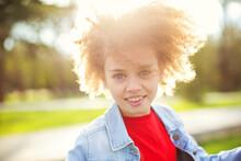 Portrait Of Curly Cute Little ...