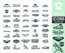 Skateboard Logo Collection (set Of 45 Different Skateboard Logos Use For Helmet, Skateboards, Stickers, T-shirt Typography,logos And Design Elements)