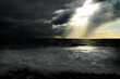 canvas print picture - storm clouds over the sea