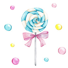 Blue Lollipop And Pink Bow And Colorful Circles; Watercolor Hand Draw Illustration; Can Be Used For Cards Or Posters; With White Isolated Background