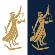 Justice Goddess Themis, Lady Justice. Statue Of Femida On White Background For Law Firm, Lawyers, Rights Attorneys, Business Law Firm. Blindfold Woman Holding Scales And Sword. Vector Illustration.