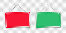 Red And Green Shop Door Signs Hanging Isolated On Transparent Background. Empty Or Blank Sign For Store, Restaurant Or Cafe. Vector Illustration. EPS 10