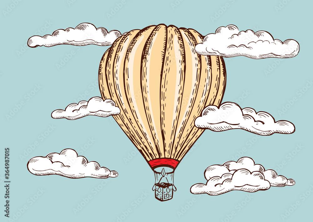 Fototapeta Hot air balloon vintage style. Hand drawn illustration. Vector