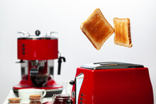 Two Toasts Jumping Out Of Red ...