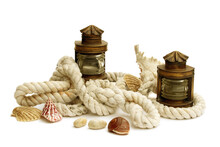 Arrangement Of Two Marine Lanterns, Thick Ropes And Shells Isolated On White Background