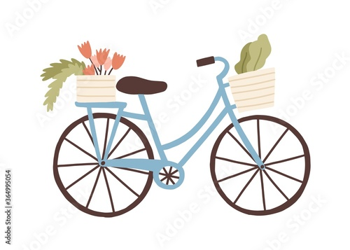 Obraz Cute hand drawn bicycle or bike isolated on white background. Urban eco friendly pedal transport carrying baskets with flowers and plants vector flat illustration. Retro vehicle with flower bouquet - fototapety do salonu
