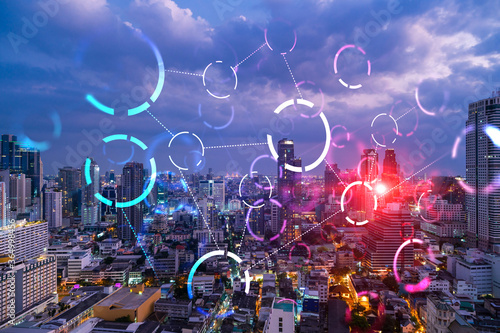 Abstract technology icons, night aerial panoramic cityscape of Bangkok, Asia Canvas Print