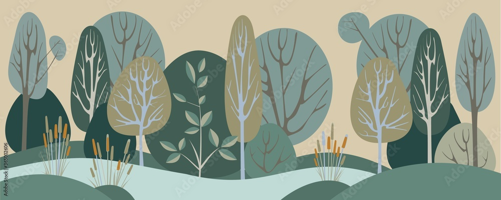 Fototapeta Abstract Forest Landscape, Green Background Vector