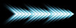 Blue abstract glowing arrows tech banner design. Futuristic neon background. Vector illustration
