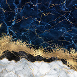 abstract white blue marble background with golden veins, fake stone texture, liquid paint, gold foil and glitter decor, painted artificial marbled surface, fashion marbling illustration - 365009003
