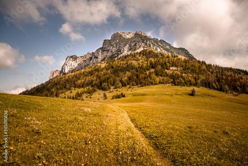 Fotografia, Obraz Velky Rozsutec is situated in mountains the Mala Fatra