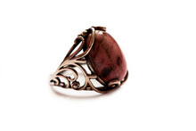 Old-fashioned Silver Ring With Beautiful Pink Rhodonite Gemstone, Vintage Jewelry