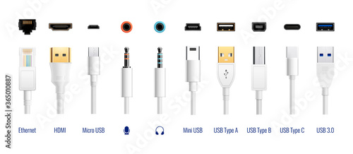 White USB Cables Set Fototapet