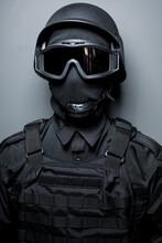 SWAT In Black Uniform, Face Ma...