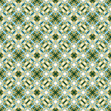 Graphic Circles Seamless Pattern. Geometric Vector Illustration. Overlapping Circular Shapes In Dark Green, Blue And Beige On White Background. Retro Design For Interiors And Backgrounds.
