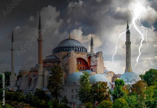 Sunny day architecture and Hagia Sophia Museum, in Eminonu, istanbul, Turkey Fototapeta