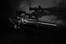 Modern Black Sniper Rifle With...
