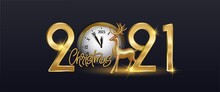 Merry Christmas Happy New Year Deer Greeting Card Illustration, Realistic 3d Solid Gold Reindeer. Happy New Year 2021 - New Year Shining Background With Gold Clock And Glitter, Elegant Design.