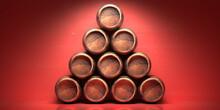 Wine Barrels Xmas Tree Shape Stack On Festive Red Background. 3d Illustration