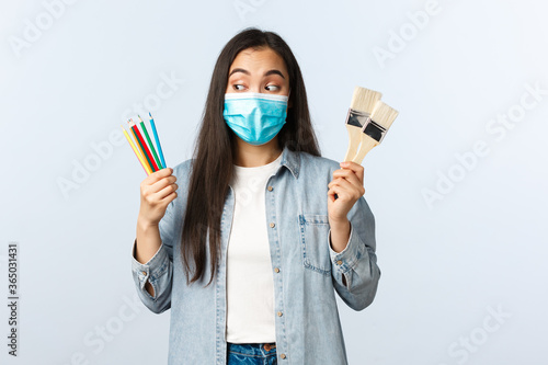 Social distancing lifestyle, covid-19 pandemic, self-isolation hobbies and leisure concept Fototapet