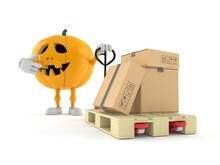 Halloween Pumpkin Character With Hand Pallet Truck With Cardboard Boxes