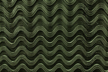 Roof Green Slate Tiles Pattern Wave Texture.
