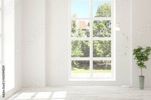 Fototapeta White empty room with summer landscape in window. Scandinavian interior design. 3D illustration obraz