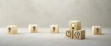 Fototapeta Kawa jest smaczna - cubes showing a brainstorming session on concrete background