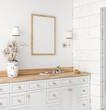 Poster mockup in white cozy bathroom interior background, 3d render