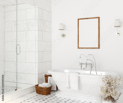 Poster mockup in white cozy bathroom interior background, 3d render Fototapeta