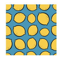 Lemon Seamless Pattern. Summer Design. Tropical Seamless Pattern With Yellow, Green Lemons. Vector Print For Fabric Or Wallpaper. Packaging Design, Wrapping, Textile, Decor, Scrapbooking.