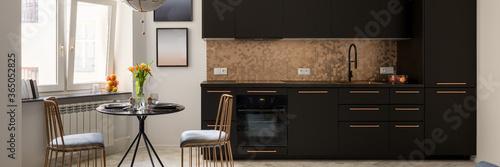 Obraz Stylish kitchen with dining area, panorama - fototapety do salonu